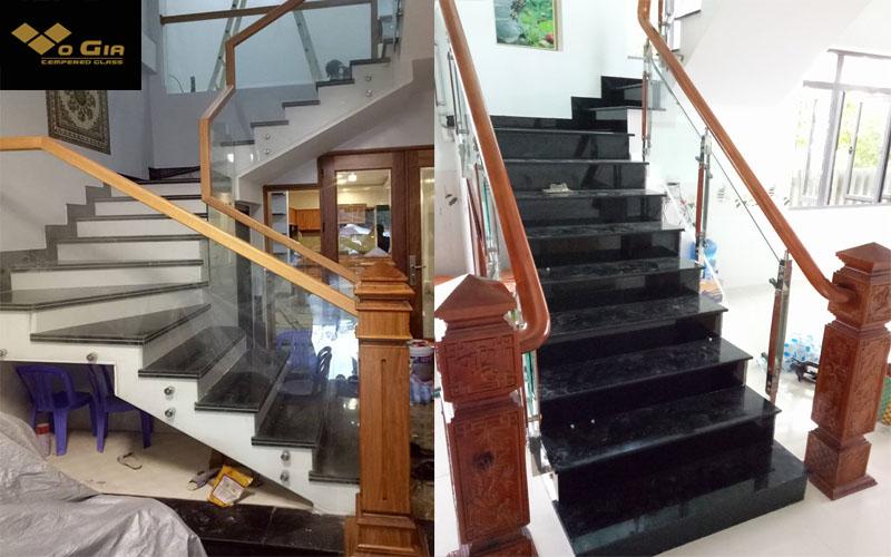 sau khi lắp đặt cầu thang kính xong ta hoàn thiện tay vịn gỗ.