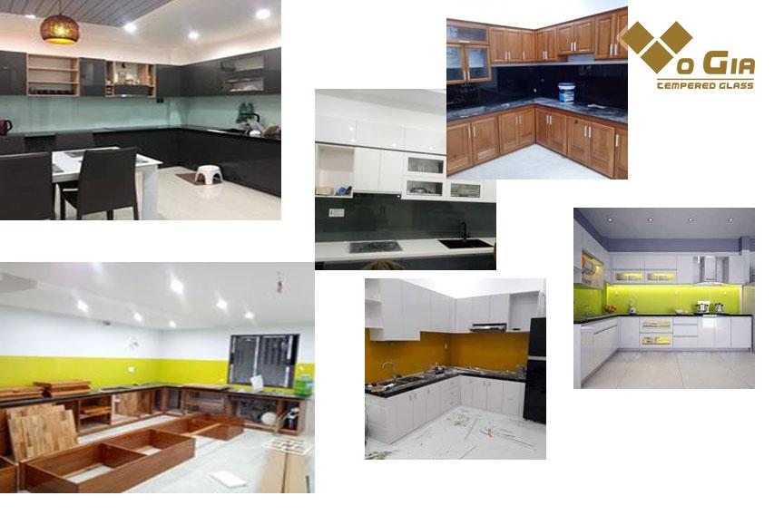 kính ốp bếp tạo nên sự sang trọng cho không gian bếp.