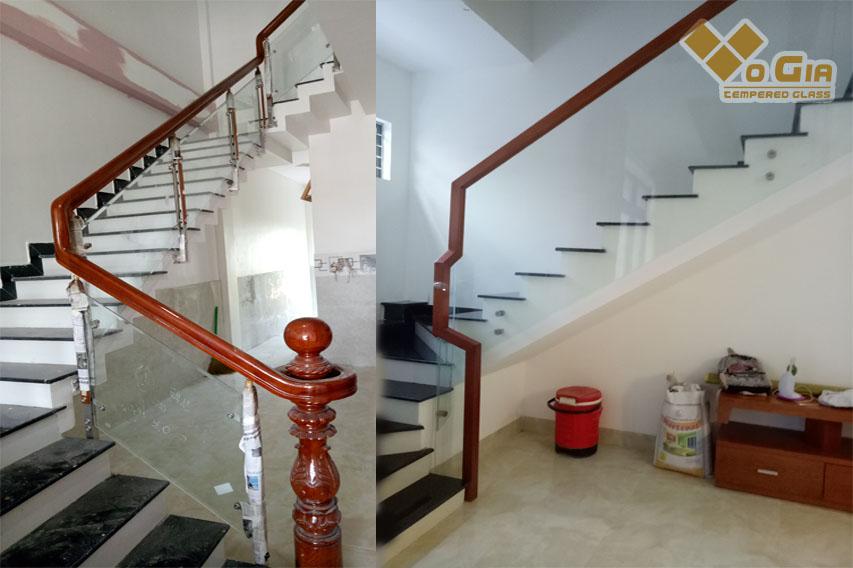 kính cường lực được sử dụng làm cầu thang