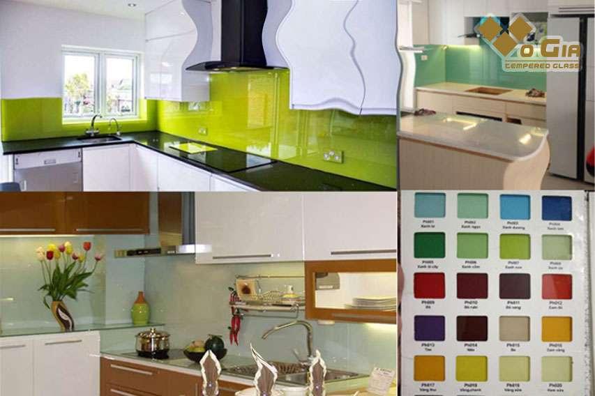 Kính ốp bếp có màu sắc đa dạng