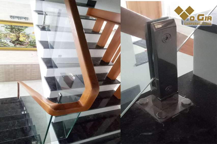 Cầu thang kính Đà Nẵng - Trụ lửng inox đặc tạo sự chắc chắn và tinh tế cho cầu thang
