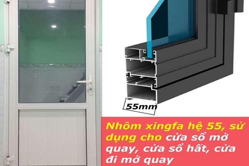Nhôm Xingfa hệ 55 được sử dụng để làm cửa sổ. báo giá nhôm xingfa ngũ Hành Sơn
