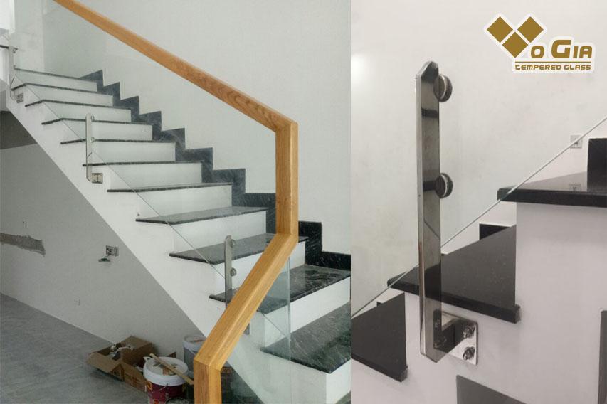 Cầu thang kính dạng pad inox