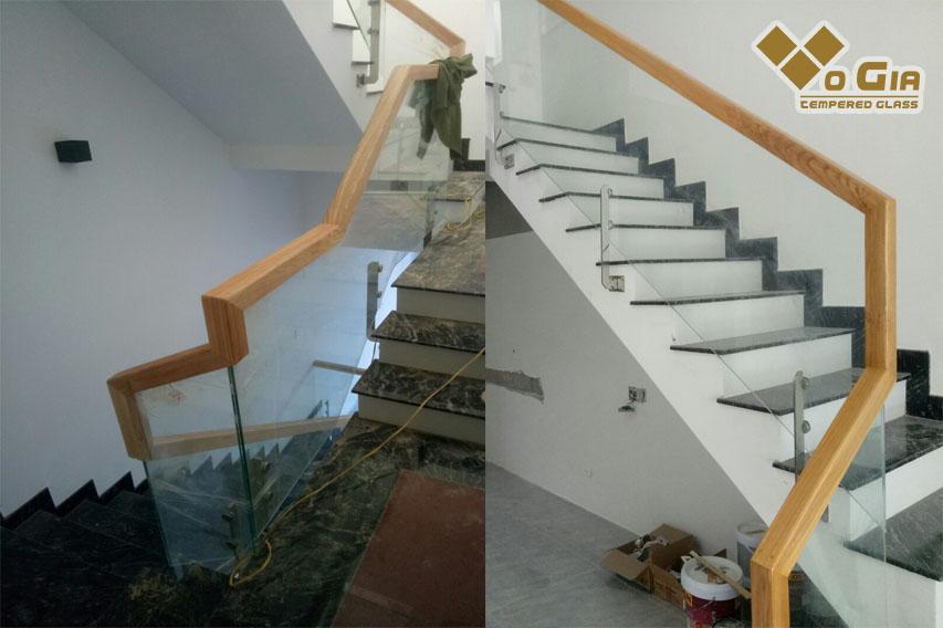 Từ Tầng 1 lên tầng 2, các mí kính được nối rất đều nhau.  Kính cường lực tại hòa xuân